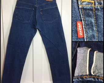 1980's 501 Levi's Jeans 35x34, measures 32x30.5 original hem, redline selvedge button fly Boyfriend jean dark wash denim #325