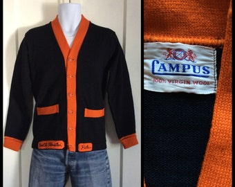 1940's 1950's 2 tone Black Orange Campus North Olmsted High School Letter Varsity Wool Cardigan Sweater looks size Small Patches Pete