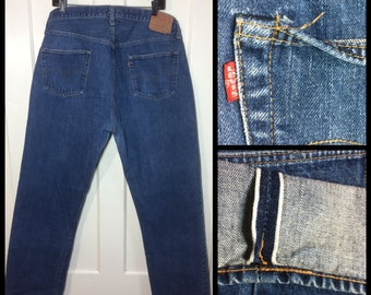 Vintage Indigo Blue denim 501 Levi's Jeans 42x36, measures 39x32 redline selvedge single stitch number 6 button fly black bar Boyfriend #263