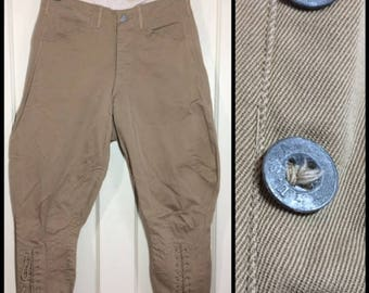 1910s WWI Military cotton twill khaki US ARMY metal button fly jodhpurs Calvary breeches 28X22 lace up riding trousers uniform #119