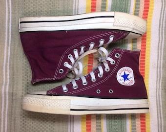 1990's Burgundy Wine Converse Allstars size 6.5 made in USA Chuck Taylors Chucks hi tops canvas sneakers kicks shoes punk skate Maroon