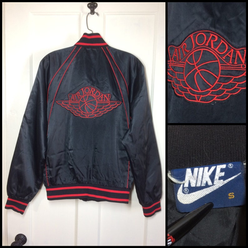 beafcb3ad44 1980s 1985 Air Jordan 1 wings basketball satin bomber jacket | Etsy