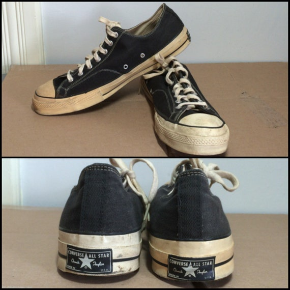 1960s Converse Chuck Taylor, Made in USA, black canvas Sneakers Kicks Shoes size 15 Black label