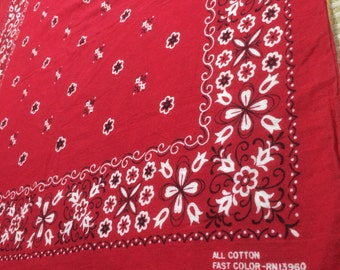 1960's red Bandana 20.5x20.5 All Cotton Fast Color made in USA Selvedge Tulips Flowers Dots Swirls initials JM very used worn soft #65