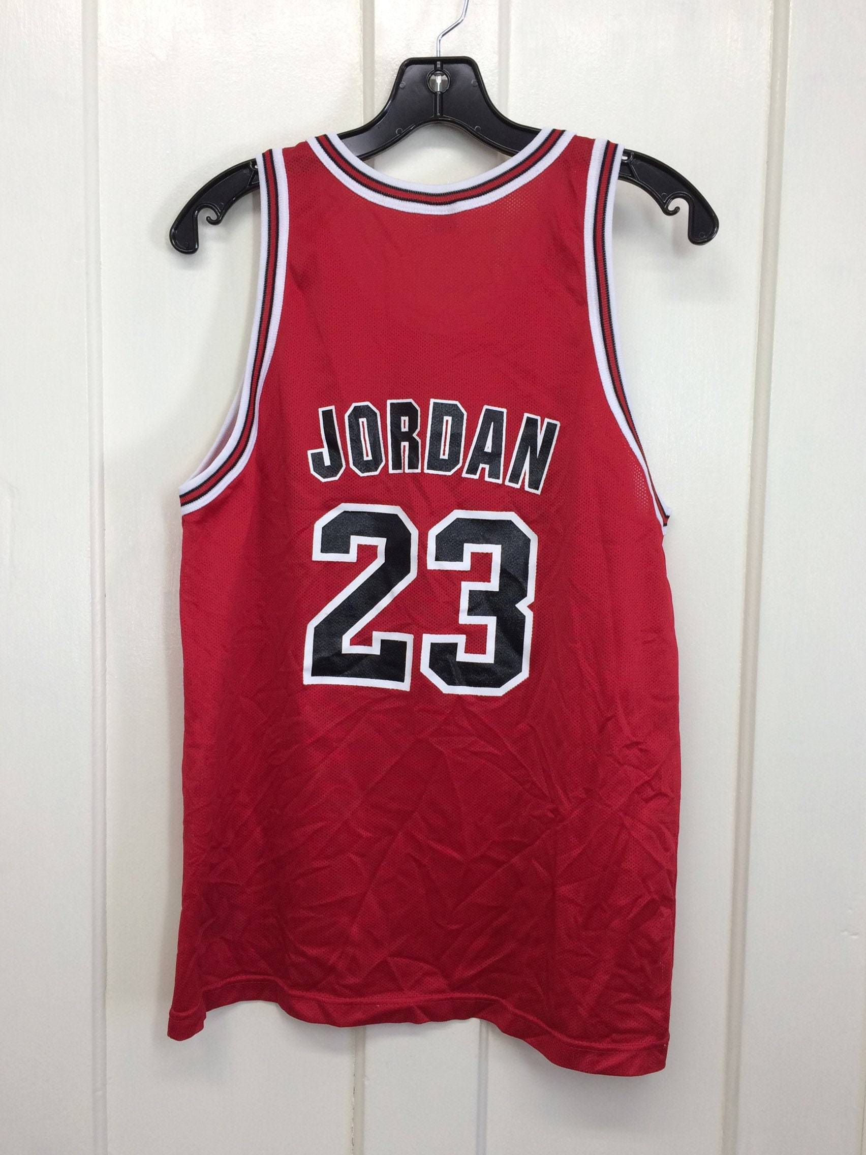 6cc9aed0a247 1990s Michael Jordan Chicago Bulls number 23 red black NBA basketball team  Champion brand jersey tank top size Youth XL 18-20