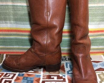 1970's brown Frye campus Boots size 10.5 D made in USA broken in leather soles