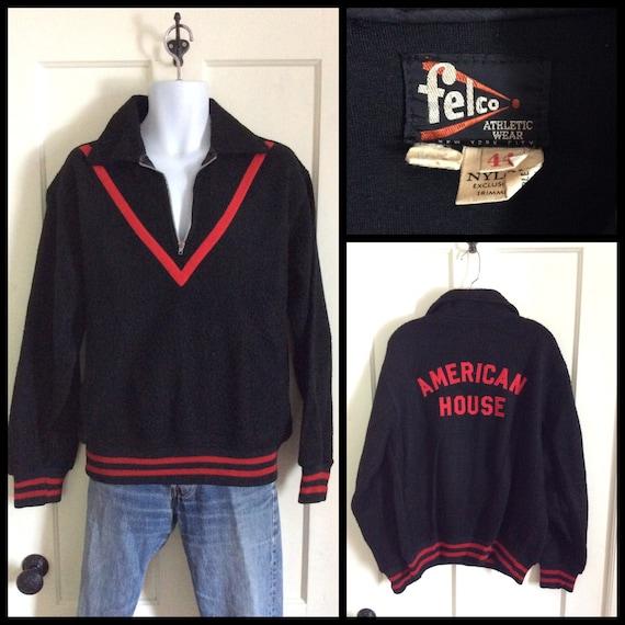 Vintage 1950s half zip Fleece Pullover Black Red C