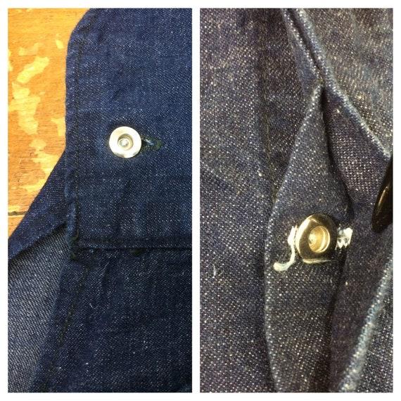 1930s 1940s indigo blue denim no pocket bib overa… - image 7