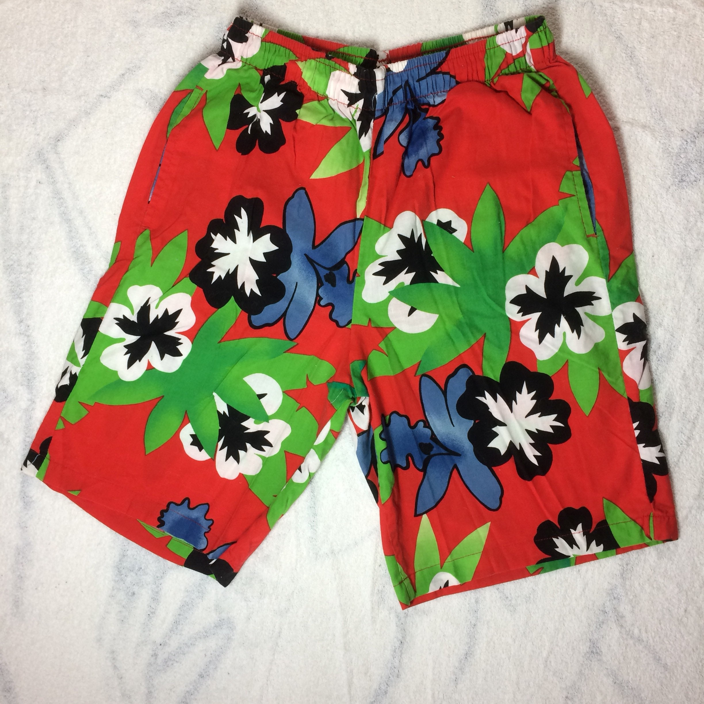 bc9b070d5b 1980's Board Shorts Original Jams Surf Line Hawaii size Small USA made bold  abstract tropical flower print red all cotton surfer beach