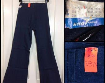 1970s deadstock indigo blue hard denim dark wash bellbottom boyfriend jeans wide flare bell bottoms 28x33 skinny tall sailor nos nwt #359