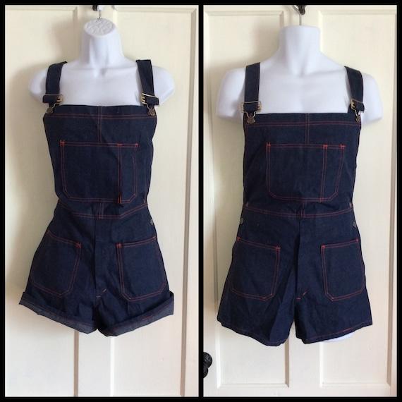 1970s Deadstock denim overalls short shorts size 3