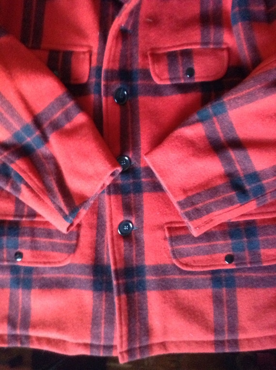 Coat Wool size Vintage Plaid Large Black Carter's Hunting Excellent Red Jacket 1950's Condition 42 fwWw16qYRn
