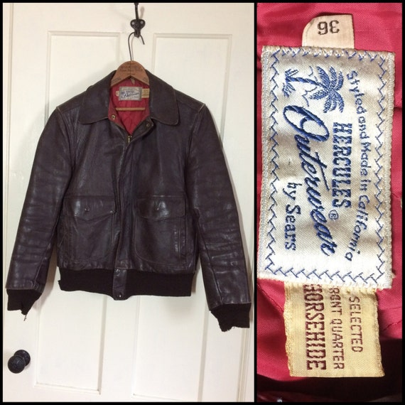 580145c46 1950s Hercules by Sears Horsehide Leather Bomber Jacket brown size 36 small  made in California selected front quarter civilian flight USAF
