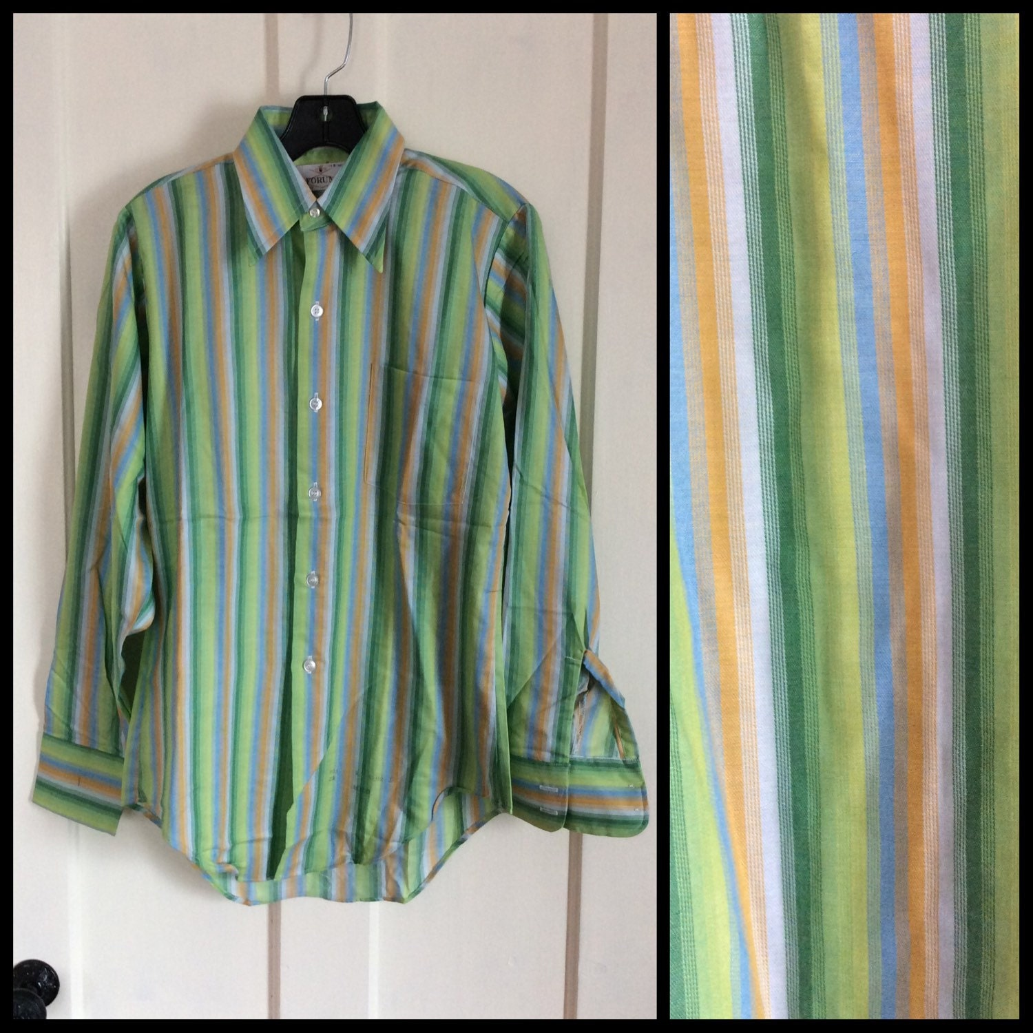Vintage Deadstock 1970s Striped Mens Dress Shirt Size Small Blue