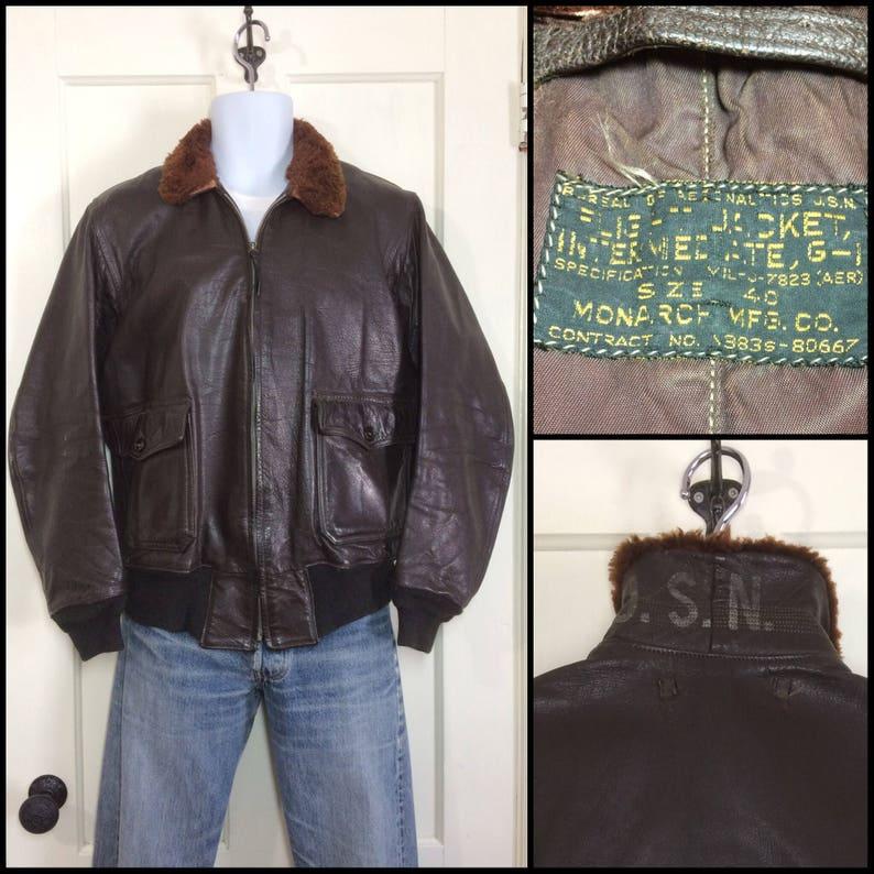a3d5be73202 1950 s 1951 USN G1 goatskin leather bomber flight jacket