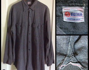 1950's 5 Brother Black Chambray salt and pepper Work Shirt looks size XL or XXL Union Made Selvedge Gussets