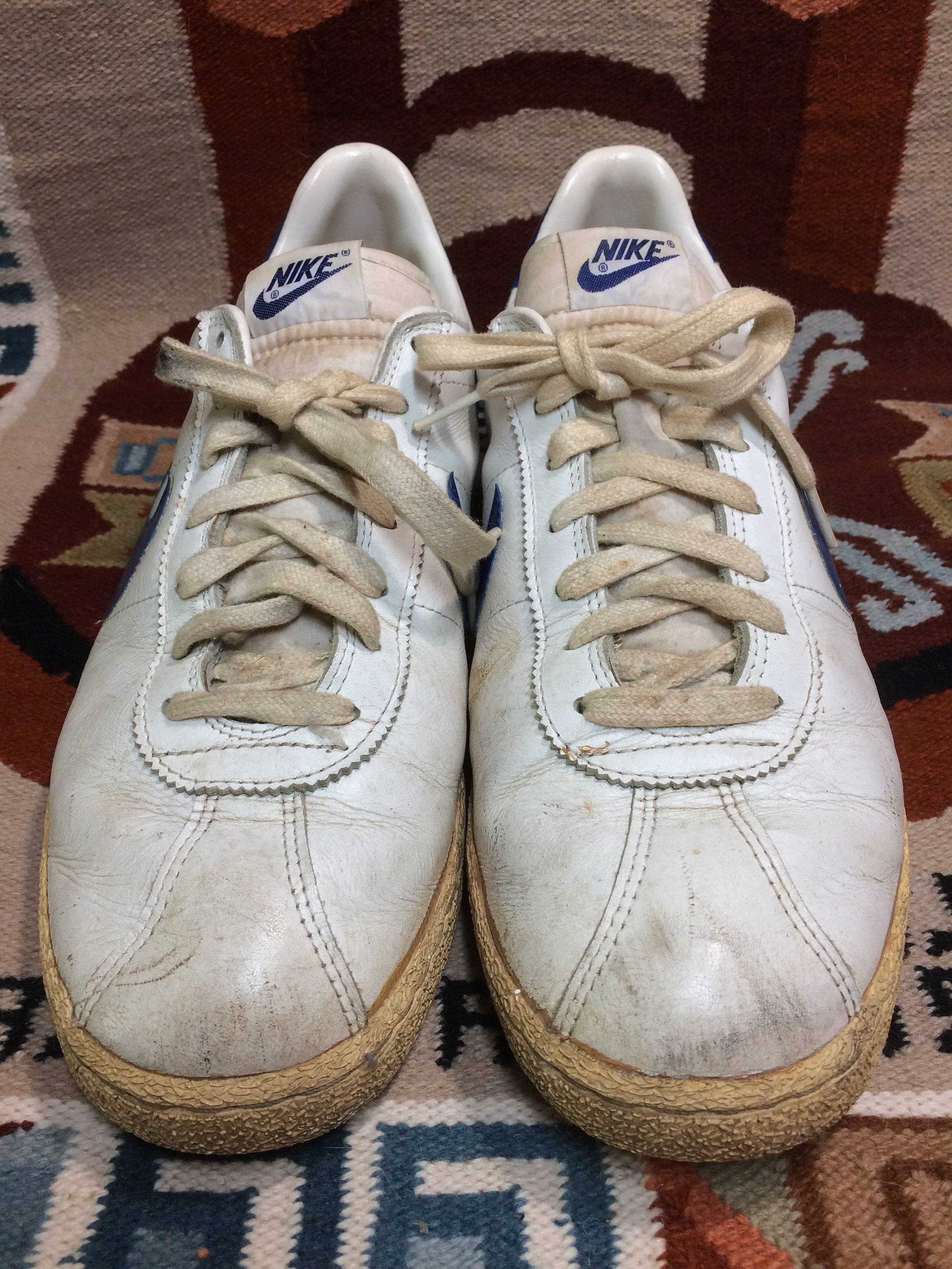 9b09eaada928 1982 Nike Bruin leather Sneakers size 13 White blue swoosh made in Thailand  Marty McFly back to the future 80s iconic shoes