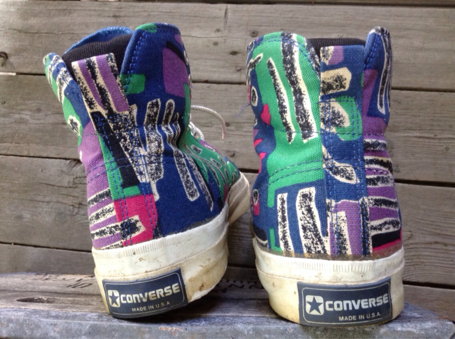 6ec77bae8bce Vintage 1980 s Converse Skidgrip Made in USA Abstract Pattern ...