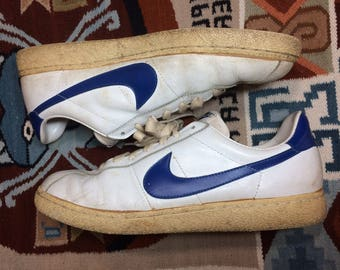 1982 Nike Bruin leather Sneakers size 13 White blue swoosh made in Thailand Marty McFly back to the future