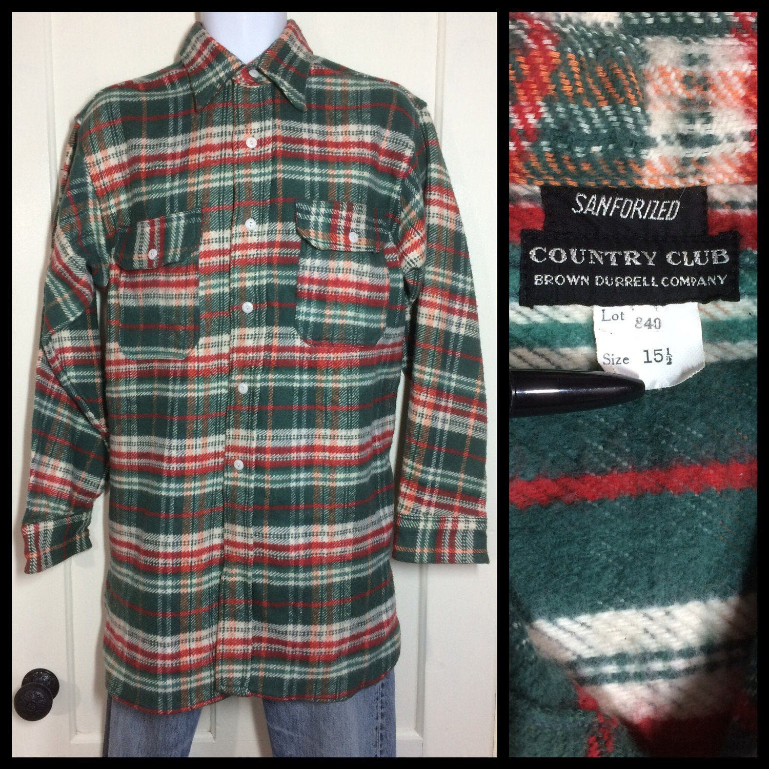 1920s 1930s Deadstock Antique thick Plaid Flannel Shirt size 15 5