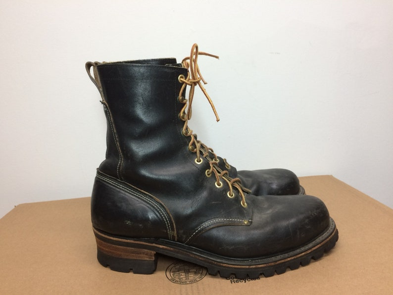 99d49397327 vintage Georgia black leather steel toe logger boots size 10.5 D work boots  hook lace made in USA