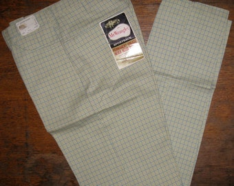Vintage Deadstock 1960's Wrangler Peg Leg Tapered Plaid Jeans Pants Ivy League Slacks 30X32