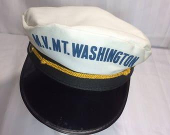 1980's MV Mt. Washington sea Captain hat size 7 1/8 nautical sailor ship boat uniform
