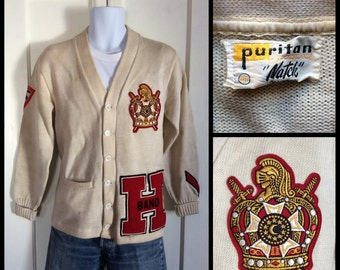 1950's Band Letter H Varsity Cardigan Wool letterman Sweater size 40 medium King Crown Patches Puritan Natch as-is