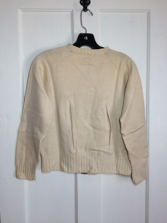 pleats with looks zipper zip up Talon 2 back fantail Small size cardigan 1930's in Antique Grommet cream 67qwpxf
