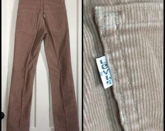 519 Levis Corduroys 28x34, measures 27.5x33.5 Tall Tan straight leg Talon zipper made in USA barely used cords boyfriend jeans  #1588