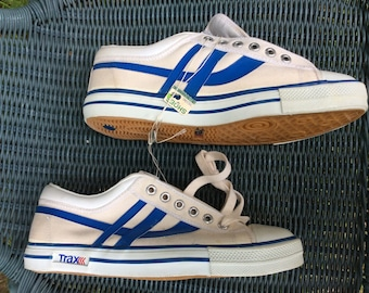 Deadstock Vintage 1970's Trax Striped Canvas Sneakers Kicks Shoes size 10.5 White Blue NOS