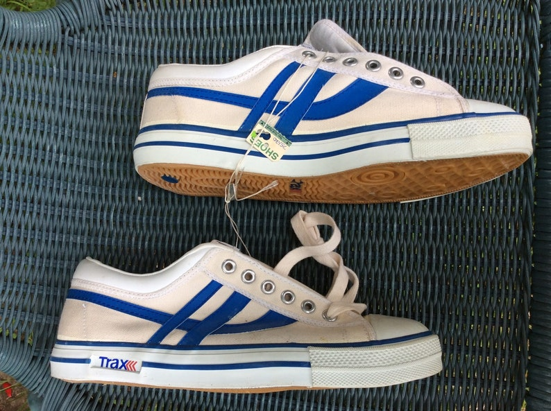 Deadstock Vintage 1970 s Trax Striped Canvas Sneakers  02b8ebccf