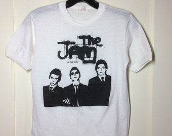 1970's the Jam In the city 1977 worn thin white T-shirt looks size XS to Small 16.5x23.5 Punk Mod band tee Paul Weller