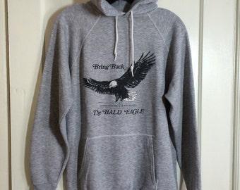 1970's Massachusetts Audubon Society Bring Back the Bald Eagle Hoody Sweatshirt looks size Large Heather Gray