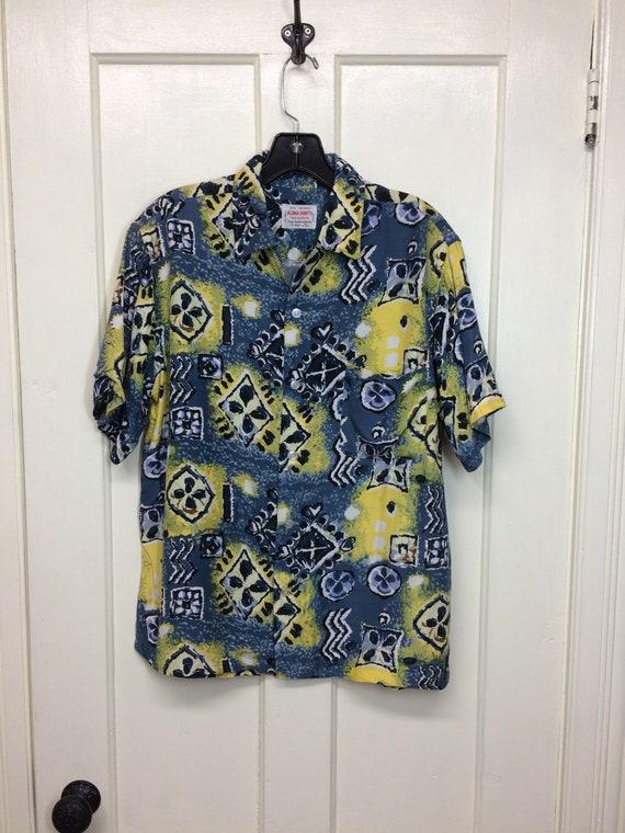1950s Aloha Shirts hand screened rayon Hawaiian lo