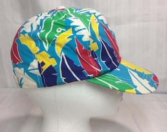 1980's tropical patterned surfer cap hat turquoise abstract palm tree leaves flowers bright colors colorful adjustable one size