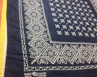 deadstock NOS Vintage 1950's Elephant trunk up Blue Bandana 17.25x17.75 Fast Color Square Diamond geometric abstract cotton selvedge #56