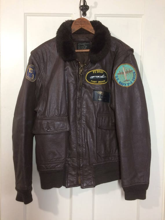 6bc25006b42 1970 s USN G1 goatskin leather bomber flight jacket brown