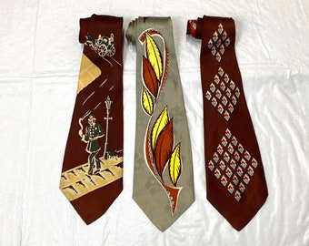 Pick One- 1940s necktie horse novelty or wrought iron fence hearts or abstract flower plant dots patterned