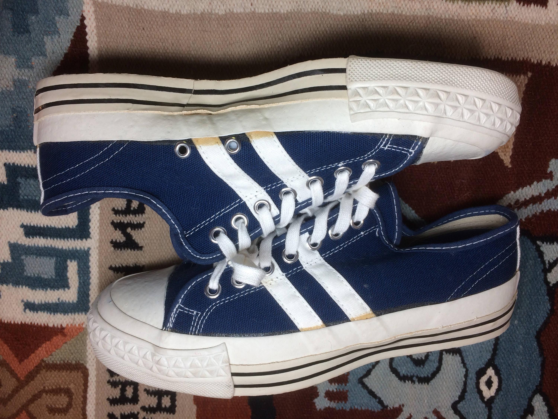 1e6e301e84ef4 1970 s blue canvas white Striped Sneakers Kicks Shoes size 7.5 D ...
