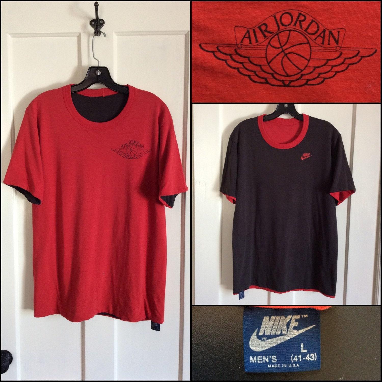 fbb0c4f30a62b3 AJ1 1980 s Nike Reversible Air Jordan 1 basketball wings T-shirt size ...