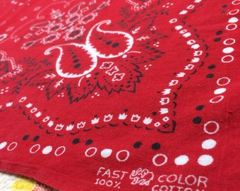 1950's Elephant Trunk Up red Bandana 19.5x21.75 Fast Color Paisley Polka Dot Tulips Flowers all Cotton selvedge hemmed soft very used #68