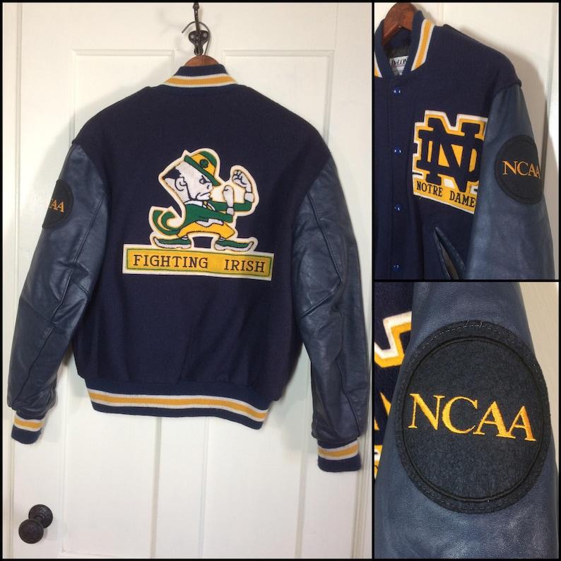 f138dc419 Notre Dame Fighting Irish NCAA varsity wool faux leather | Etsy