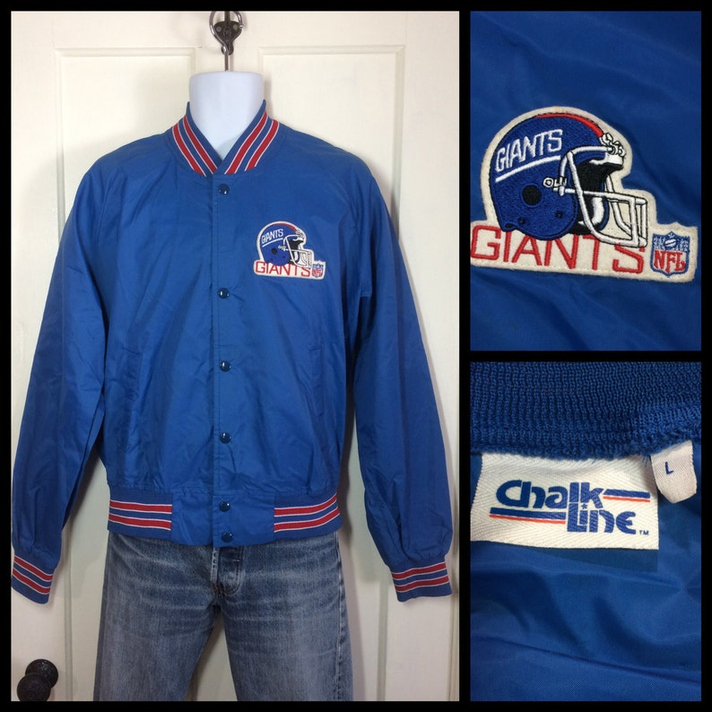 dfc731cf Vintage 1980's New York Giants Team NFL Football sports Chalk Line  Windbreaker light weight bomber Jacket size Large Helmet logo patch