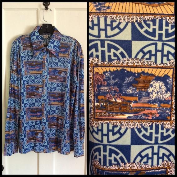 1970s Disco Shirt Asian Scene novelty Print Patter