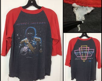 1984 Michael Jackson Victory tour baseball t-shirt looks size small 18x23 faded black red pop rock band