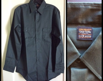 Deadstock 1960's Lee Prest Chetopa Twill Work Shirt size 15 Union Made in USA NOS Dark Green
