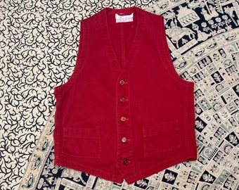 1960s work uniform vest size 36 red cotton twill by Angelica made in USA