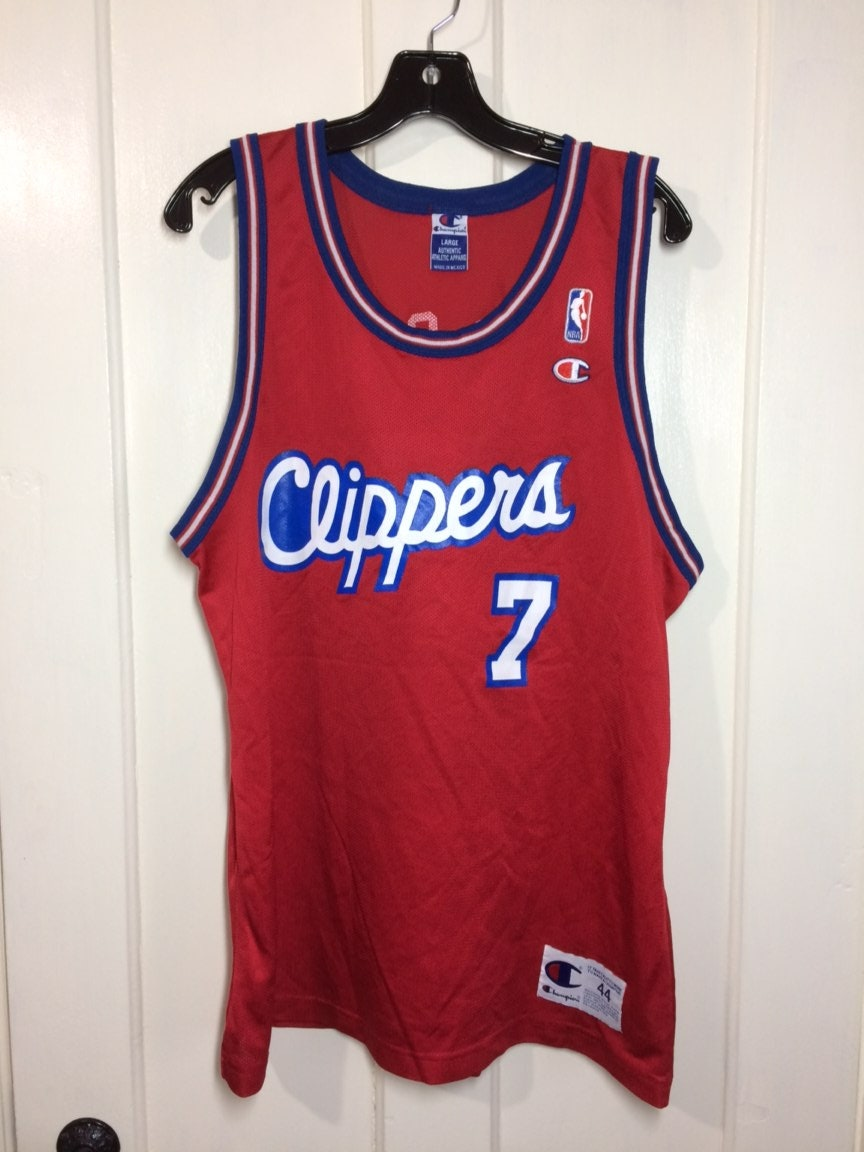 169a342806d 1990s Los Angeles Clippers Lamar Odom number 7 NBA basketball team red  white blue Champion Jersey tank top size 44 large