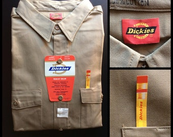 Deadstock 1960's Dickies Cotton Twill Work Shirt size 16.5 American Made NOS NWT